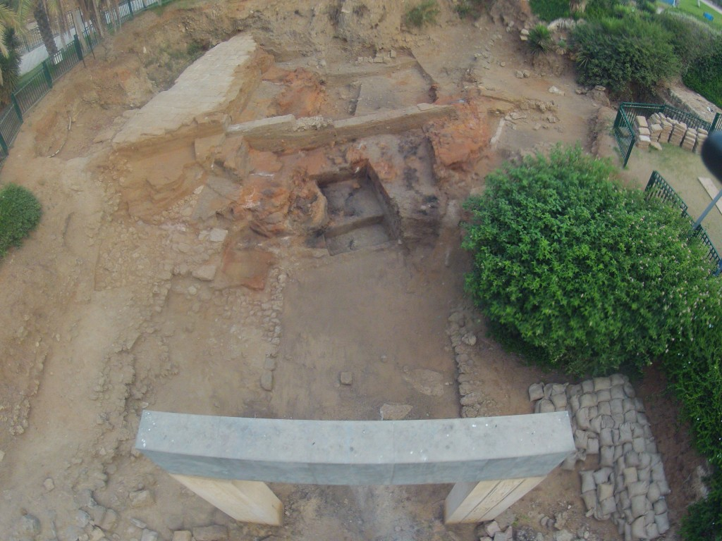 Aerial photo showing the destruction of the Amarna period Egyptian gate complex in Jaffa