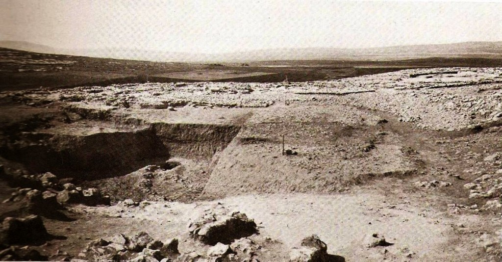 The area of the water system before excavation in 1927 Oriental Institute.