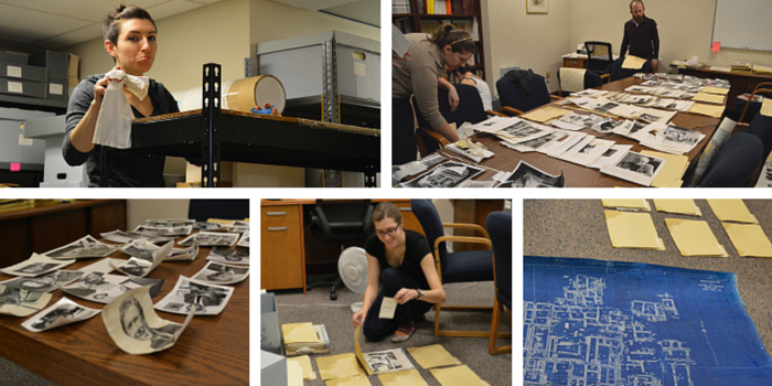 Staff working hard to save archival materials.