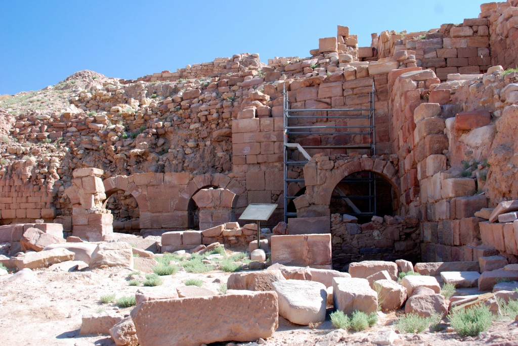 Restoration work in progress, Temple of the Winged Lions, Petra