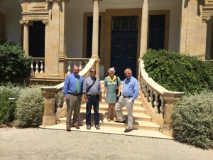 Andrew McCarthy, Tom Levy, Susan Ackerman, and Charalambos Bakirtzis, at the Anastasios G. Leventis Foundation, Cyprus