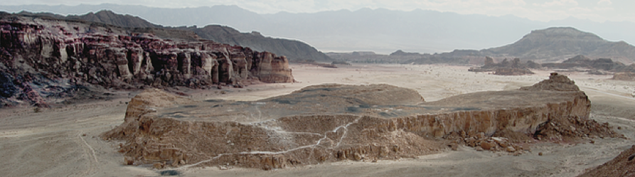 "Site 34 (""Slaves' Hill""), the largest smelting camp in Timna, looking east. Photo: Erez Ben-Yosef"